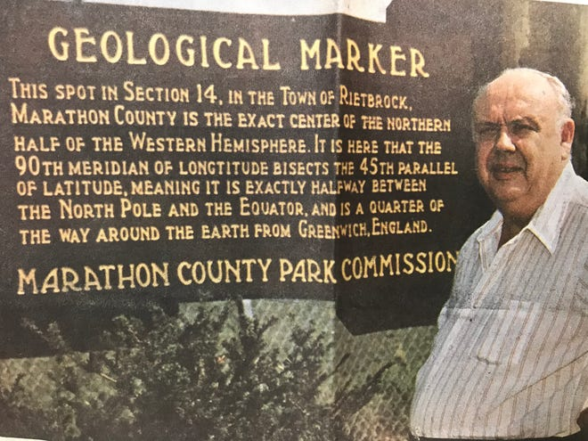John Gesicki was a driving force in discovering the spot where the 90th meridian bisects the 45th parallel in 1969. He's shown here at the spot in 1988. Gesicki died in 1995.