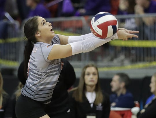 Stratford's Jadyn Dahlke passes against Living Word in a Division 3 semifinal Friday at the WIAA state girls volleyball tournament at the Resch Center in Ashwaubenon.