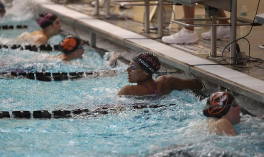 BPWV's Isabella Fountain checks the finishing time in the 50-yard feeestyle during the Section 1 girls swimming championships at Felix Festa Middle School in West Nyack on Thursday, November 1, 2018.  Fountain finished first with a 23.69 time.