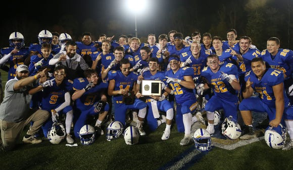 Ardsley celebrates after defeating Putnam Valley 35-0 in the Section 1 Class B championship game at Mahopac High School Nov. 2,  2018.