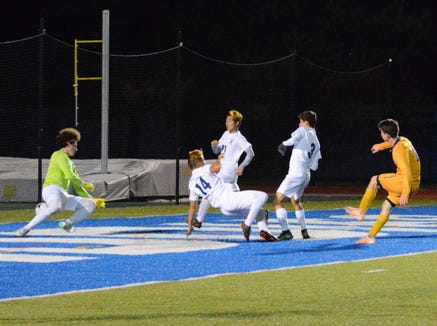 Rhinebeck striker Noah Lortie brought the Hawks within 2-1 early in the second half when he beat the Bears down the field and drove a shot past goalie Andrew Kanovsky.