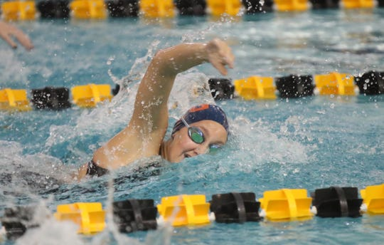 Horace Greeley's Kristen Cornish wins the  the 200-yard frestyle with a 150.72 time at  the Section 1 girls swimming championships at Felix Festa Middle School in West Nyack on Thursday, November 1, 2018.