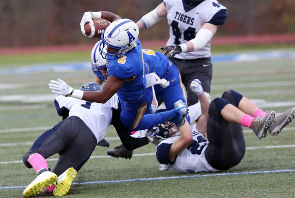Ardsley's Jalen Leonard-Osburne (6) picks up some tough yards against Putnam Valley during the Section 1 Class B championship game at Mahopac High School Nov. 2,  2018.