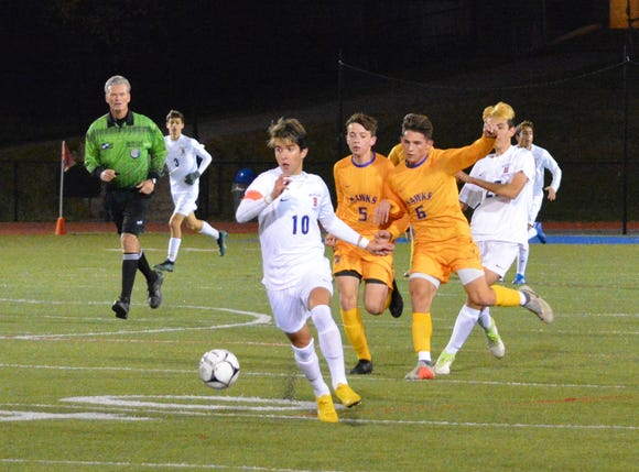 Briarcliff forward Alex Cabeca gets ahead of the pack on a first-half run during a 3-2 win over Rhinebeck in a NYSPHSAA Class B regional semifinal.