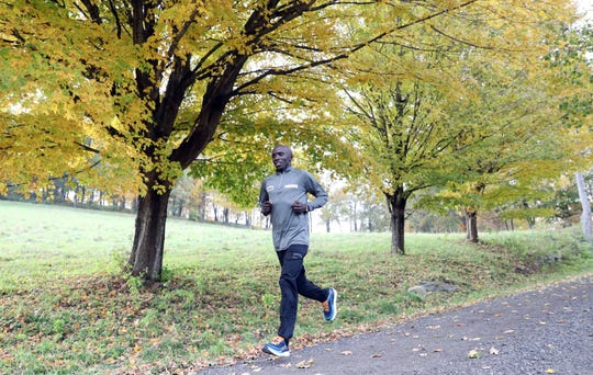 Elite runner Harbert Okuti of Sleepy Hollow, who will be running in the New York City Marathon, trains at Rockefeller State Park Preserve Nov. 1, 2018. This will be Okuti's 4th New York City Marathon and 8th in total. Okuti, 33, came to the United States from Uganda in 2005 when he was recruited by Iona College.
