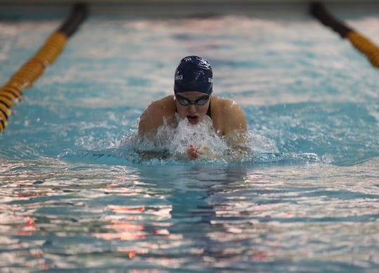 Ursuline's Josephine Panitz swims the 100-yard breaststroke at the Section 1 girls swimming championships at Felix Festa Middle School in West Nyack on Thursday, November 1, 2018.