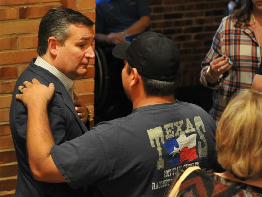 Sen. Ted Cruz of Texas spoke to a crowd during his re-election stop at Midwestern State University in Wichita Falls Thursday evening.