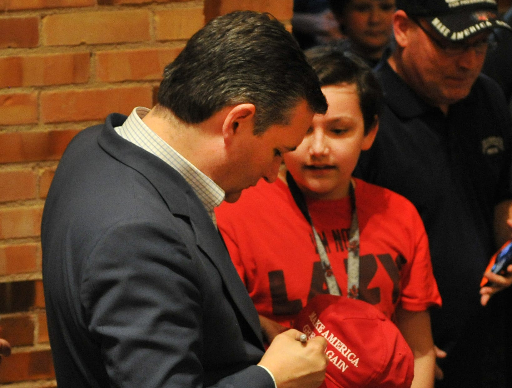 Texas Senator, Ted Cruz gave autographs during his re-election stop at Midwestern State University in Wichita Falls Thursday evening.