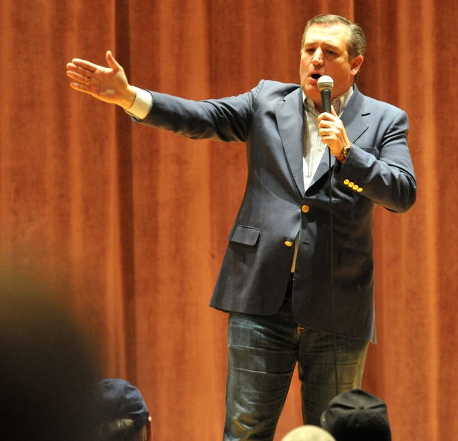 Sen. Ted Cruz of Texas spoke to a crowd during his reelection stop at Midwestern State University in Wichita Falls Thursday evening.