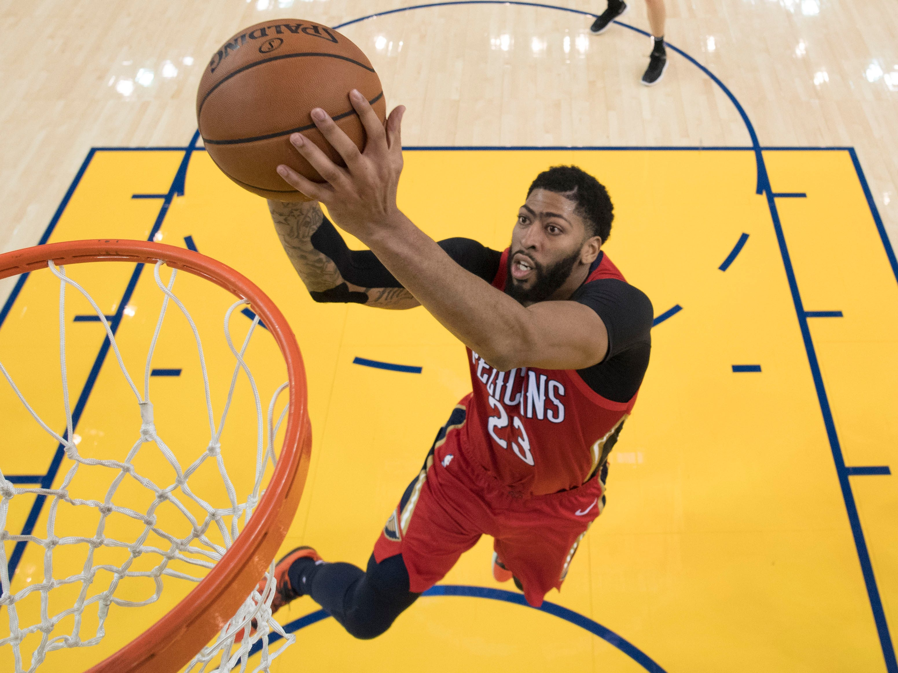 Oct. 31: Pelicans forward Anthony Davis dunks the basketball against the Warriors during the second half at Oracle Arena.