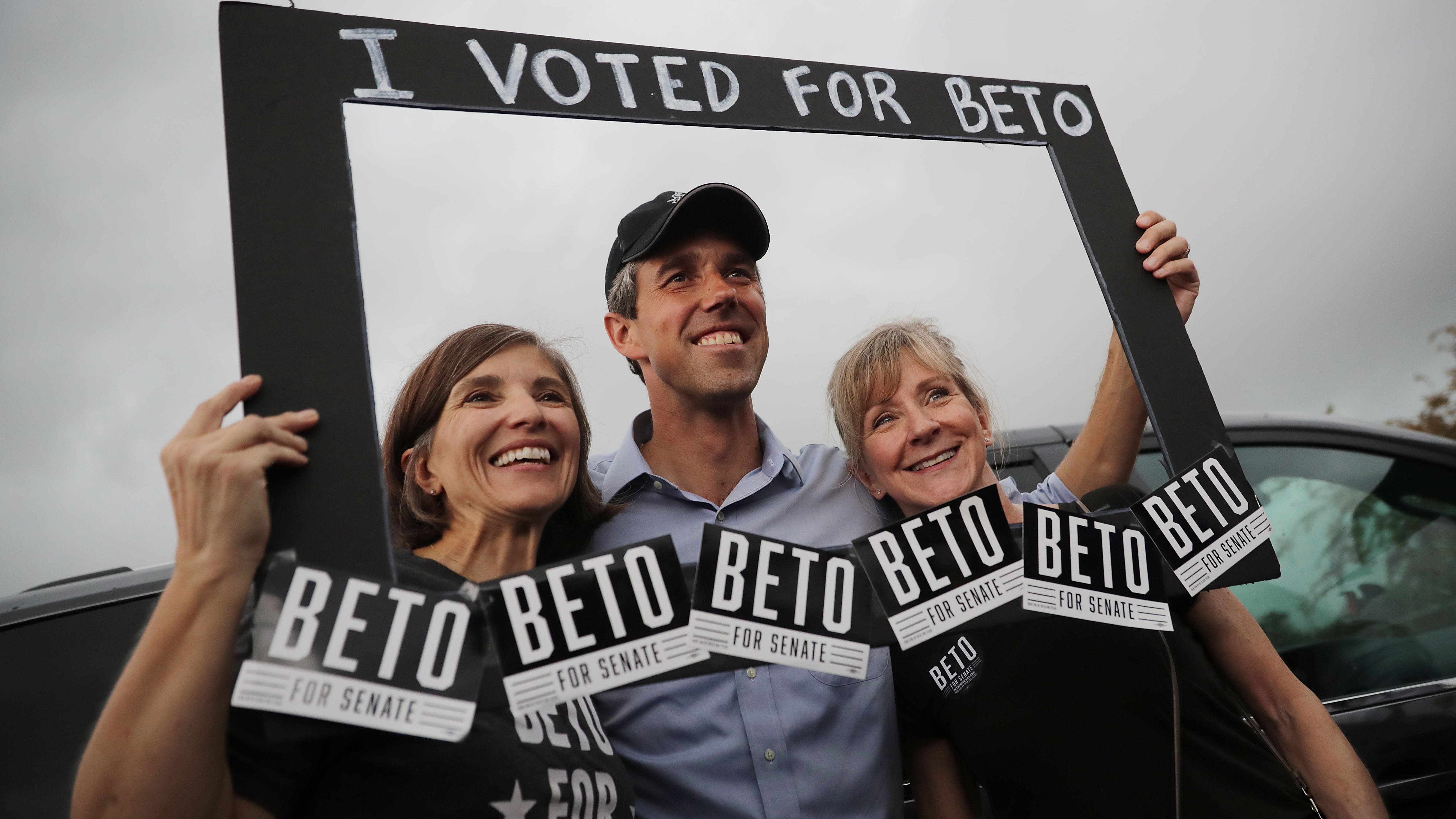 U.S. Senate candidate Rep. Beto O'Rourke (D-TX) poses for photographs with supporters during a campaign rally at Gilbert Garza Park Oct. 31, 2018 in San Antonio, Texas. With less than a week before Election Day, O'Rourke is driving across the state in his race against incumbent Sen. Ted Cruz (R-TX).