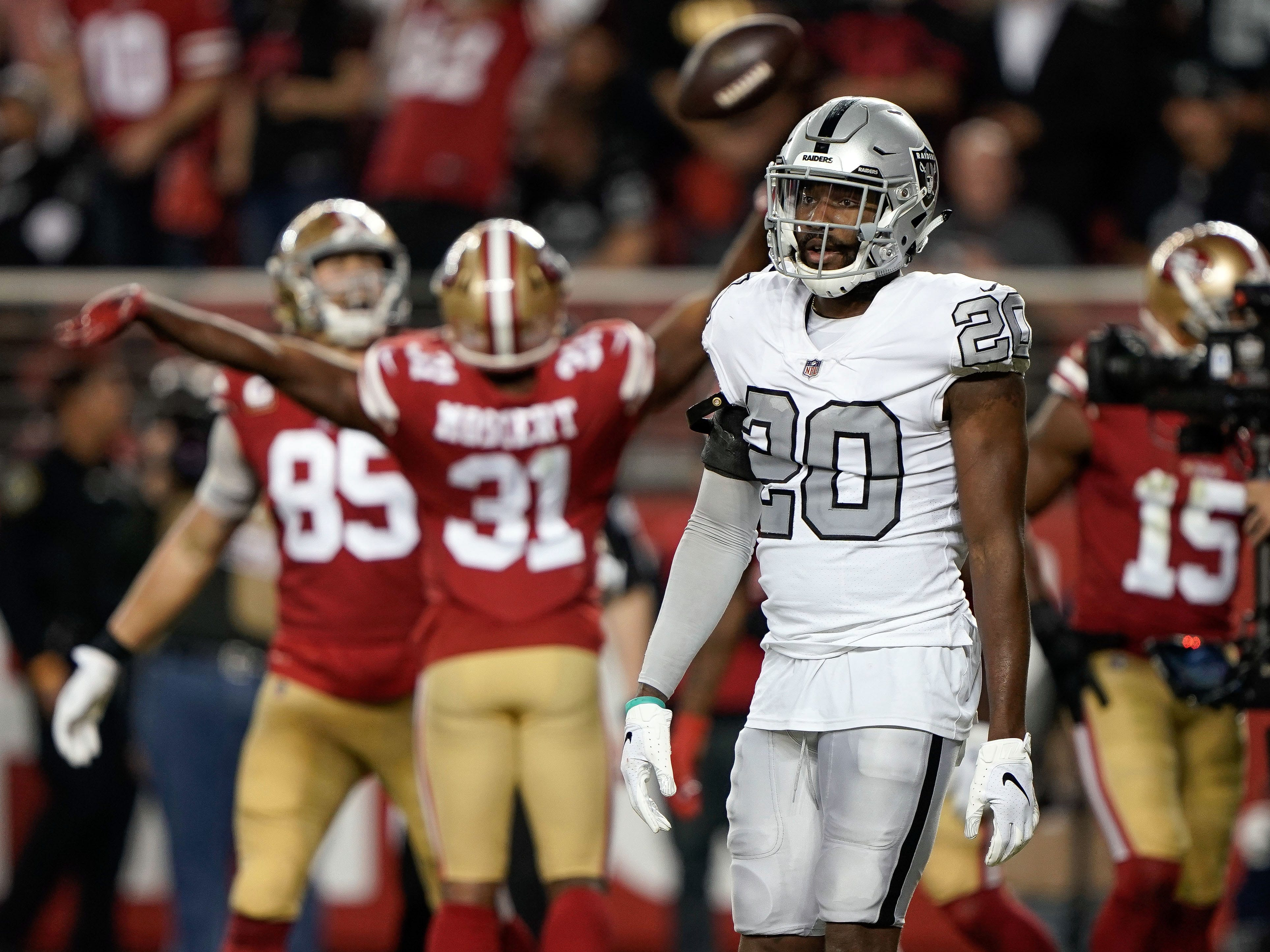Oakland Raiders cornerback Daryl Worley (20) reacts as the San Francisco 49ers celebrate a touchdown during the third quarter at Levi's Stadium.