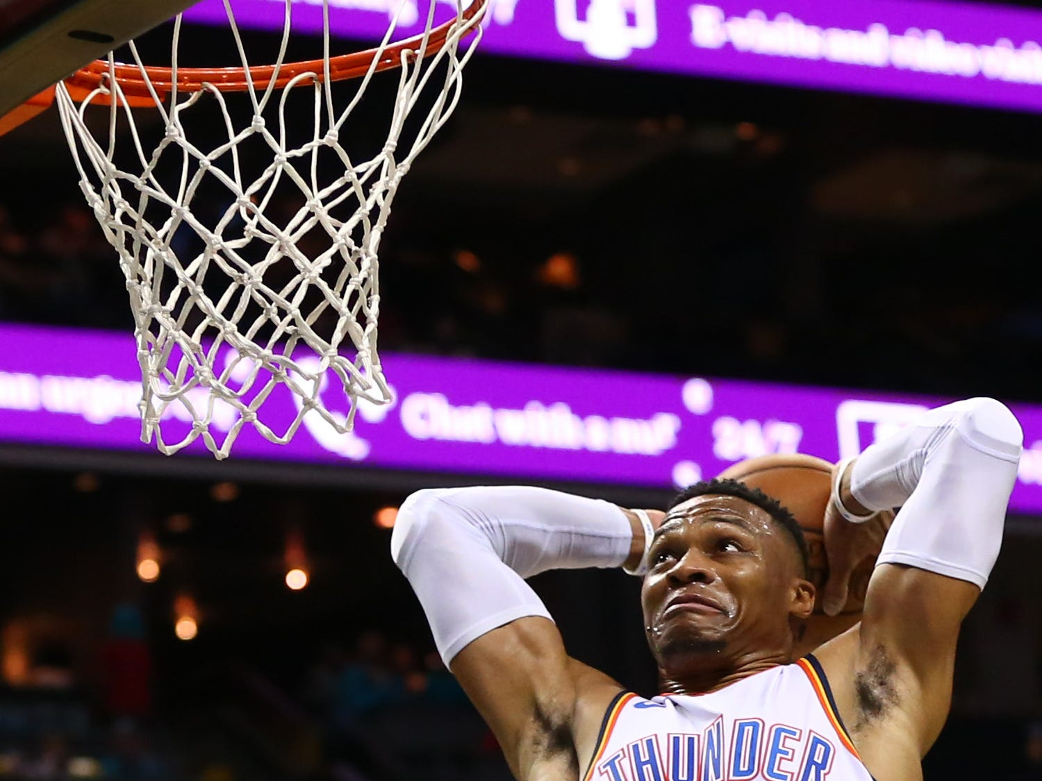 Nov. 1: Thunder guard Russell Westbrook goes up for a dunk in the first half against the Hornets at Spectrum Center.
