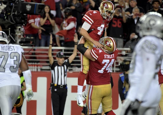 reputable site 8d062 8d6cb 49ers crush Raiders in QB Nick Mullens' brilliant first start