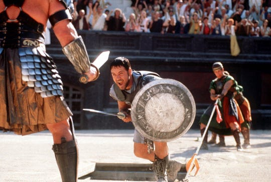 "Russell Crowe moves in for the kill in ""Gladiator."""
