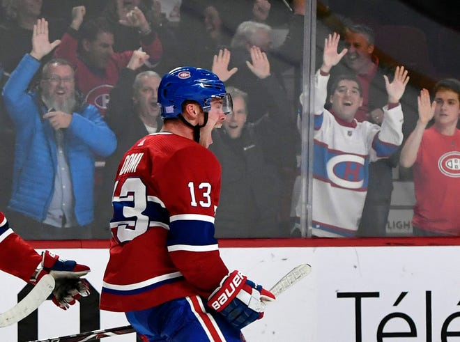 Montreal Canadiens forward Max Domi celebrates his go-ahead goal late in the third period.