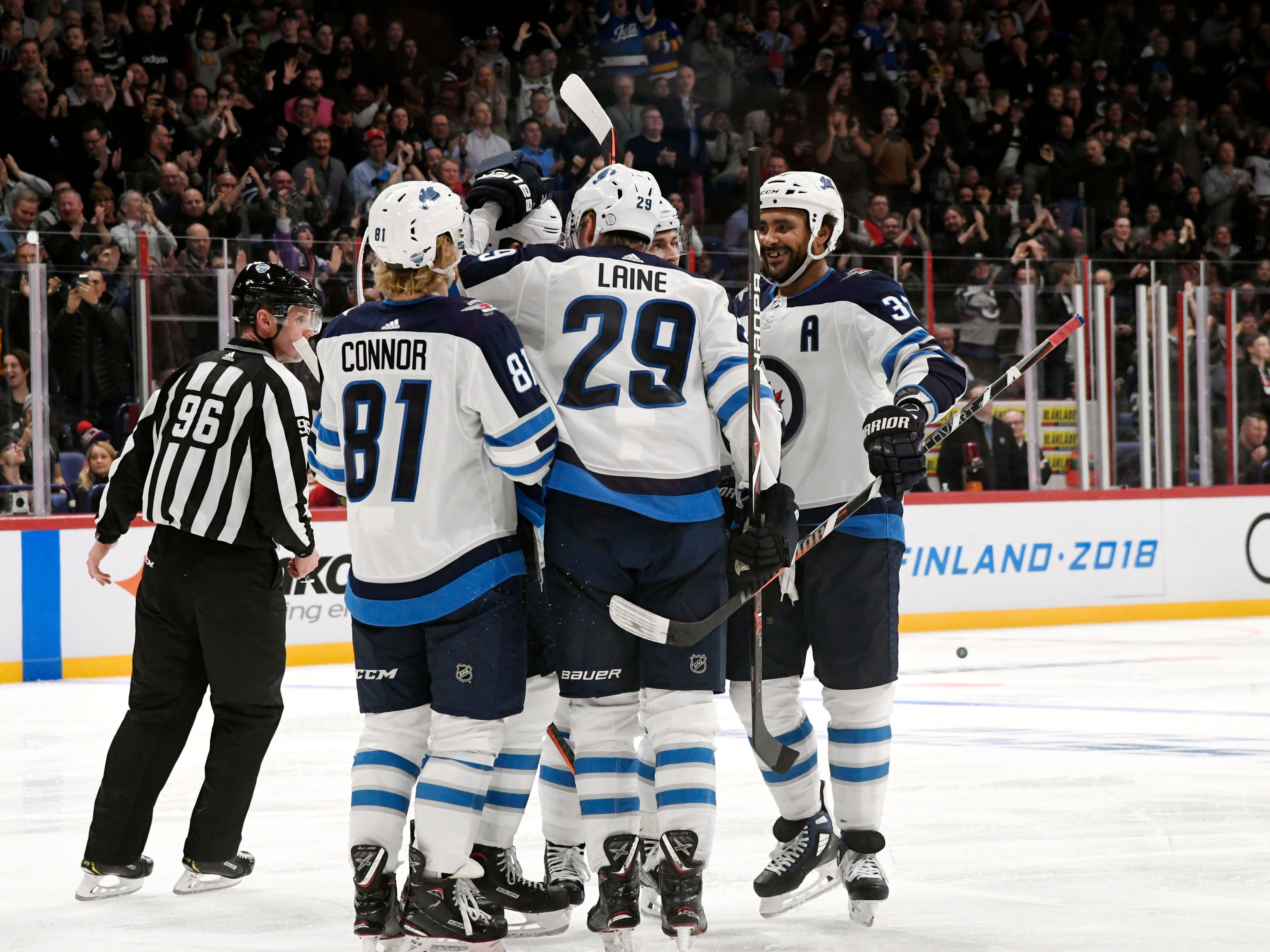 Nov. 1: Patrik Laine, 29, a native of Finland, had a hat trick in a 4-2 win against the Panthers in Helsinki.