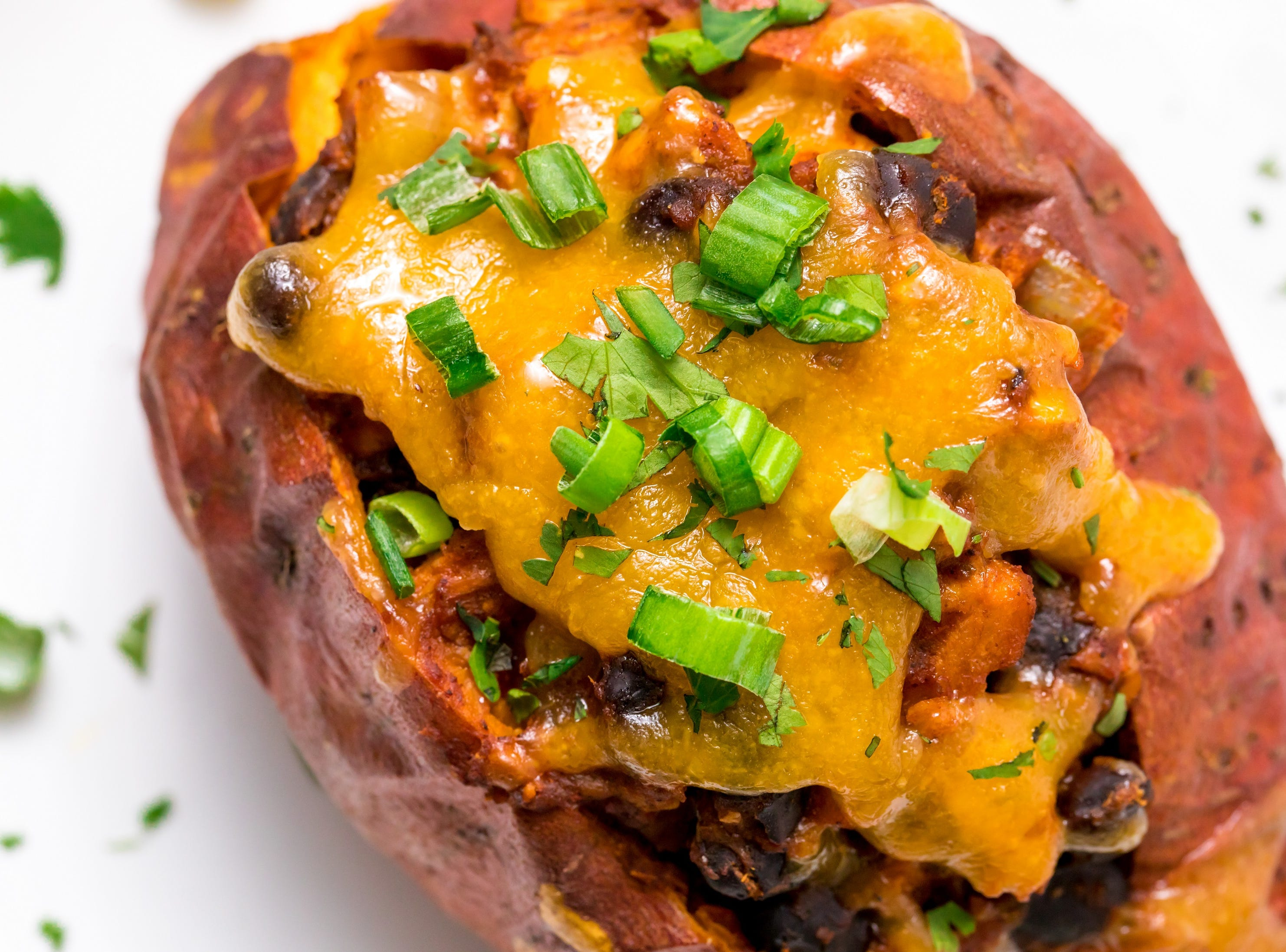 Leftover Turkey Chili Smothered Sweet Potato