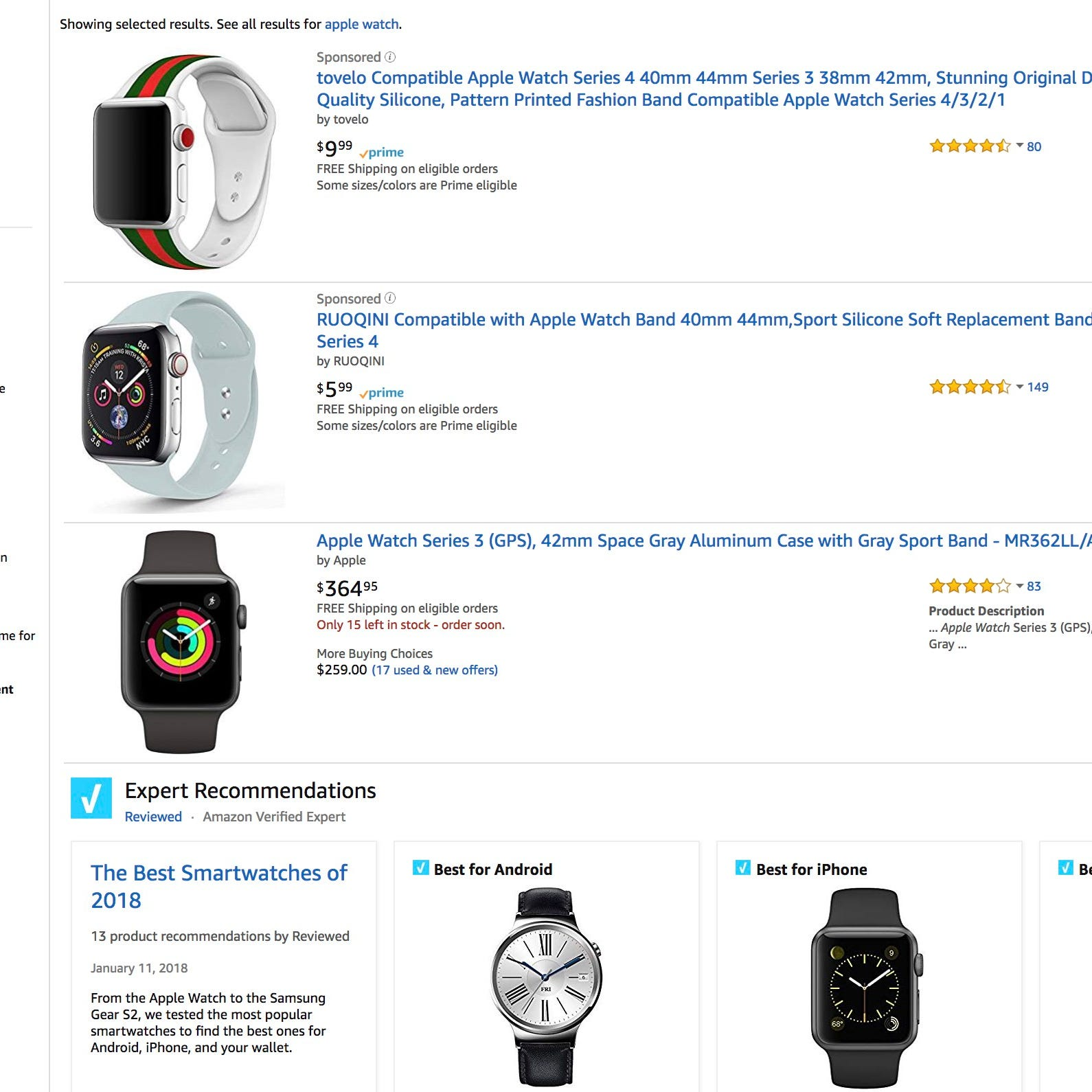 Amazon's sponsored ads over the best-selling smartwatch from Apple