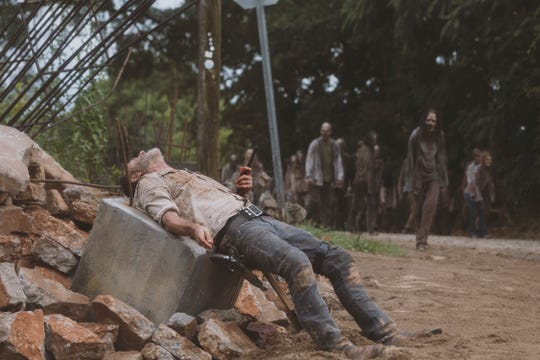 Rick Grimes (Andrew Lincoln) is in trouble after being impaled on rebar after his horse has thrown him in the
