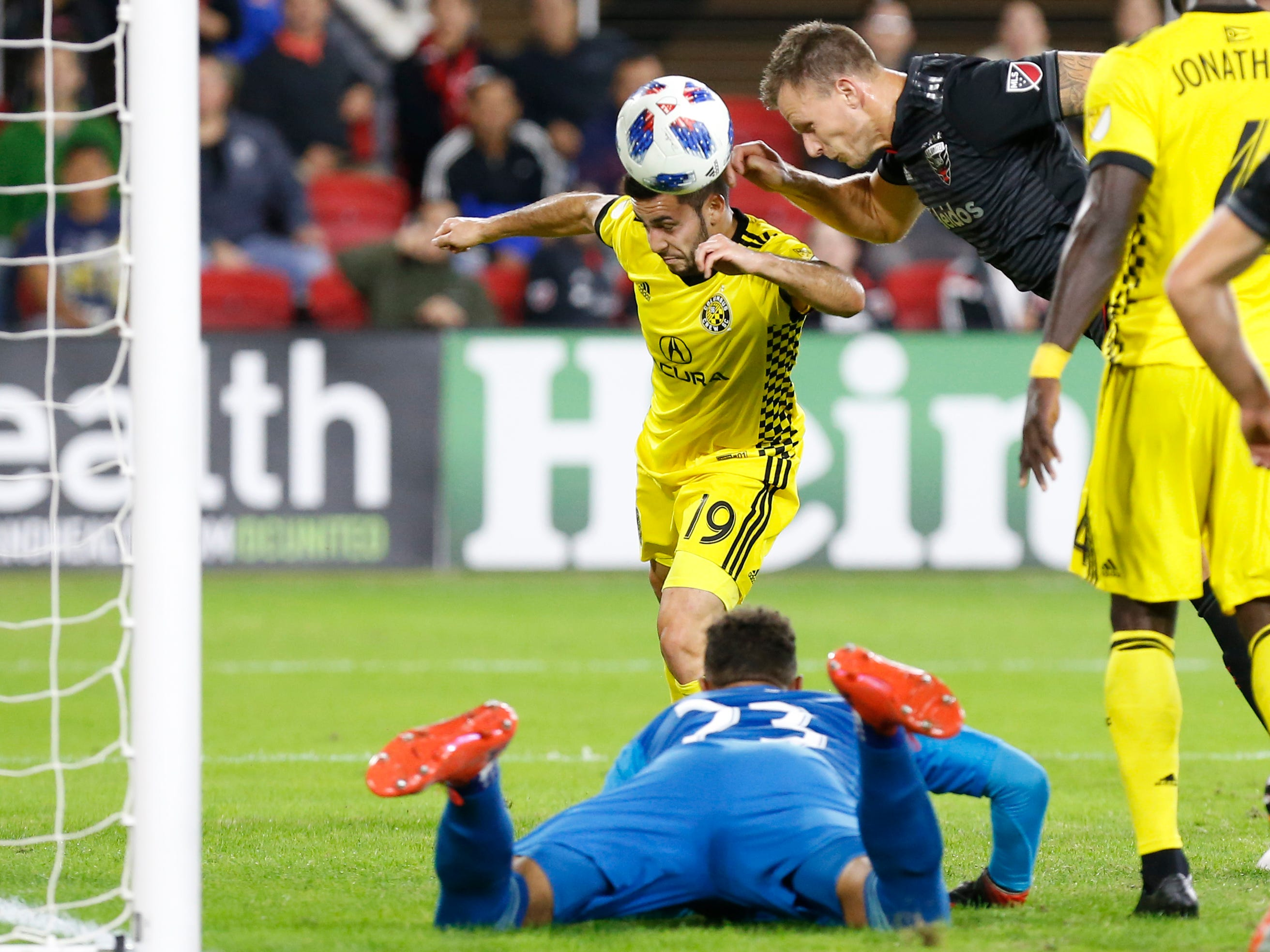 D.C. United defender Frederic Brillant scores a goal on a header against Columbus Crew SC at Audi Field.