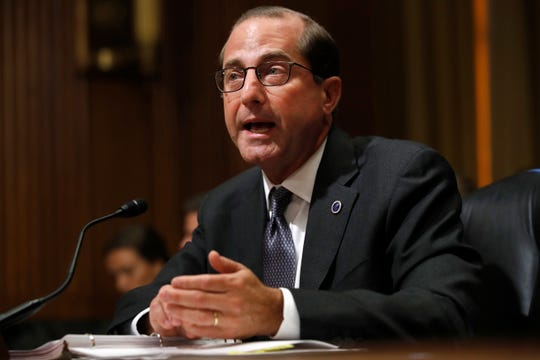 Health and Human Services Secretary Alex Azar speaks June 26, 2018, on Capitol Hill in Washington. A Drug Enforcement Administration report obtained by The Associated Press shows heroin, fentanyl and other opioids continue to be the highest drug threat in the nation.
