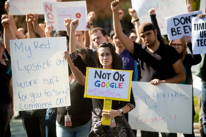 Workers protest against Google's handling of sexual misconduct allegations at the company's Mountain View, Calif., headquarters on Nov. 1, 2018.