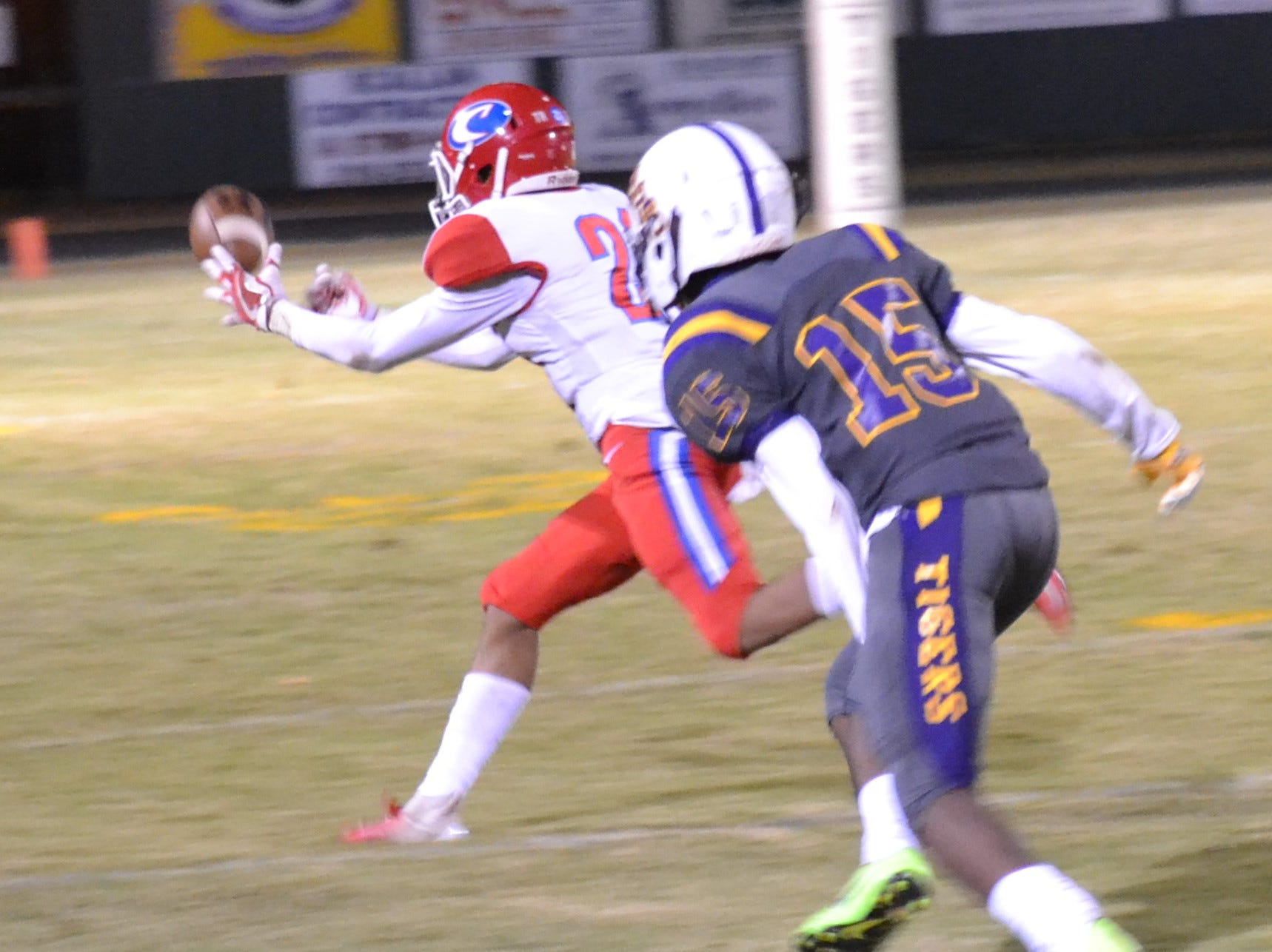 Spartan defender Quinton Green (21) just missed getting a pick-6 interception. Marksville and Caldwell met in the regular season finale Friday night with Caldwell edging Marksville 13-8.
