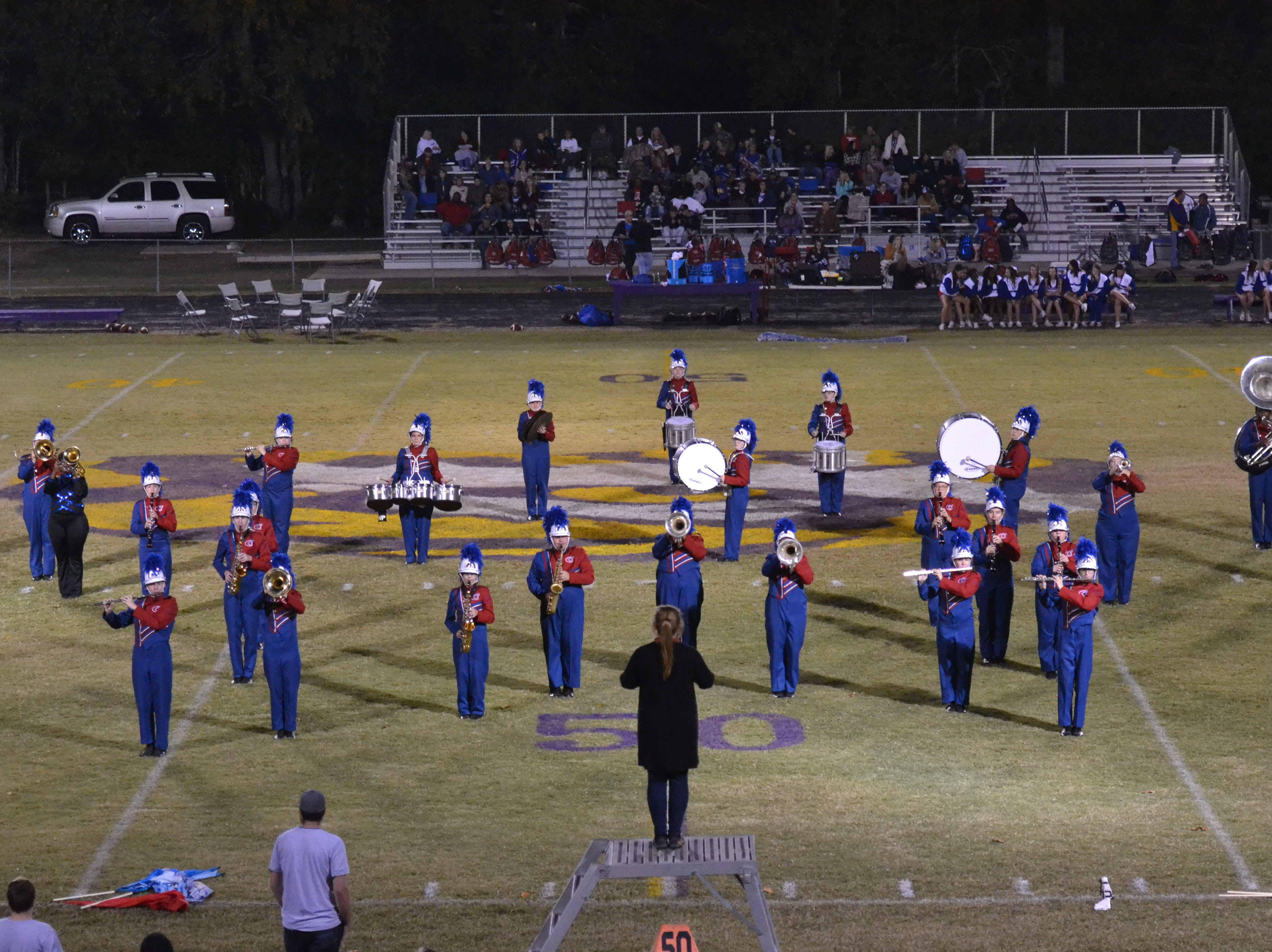 The Caldwell Marching Band performs at halftime. Marksville and Caldwell met in the regular season finale Friday night with Caldwell edging Marksville 13-8.