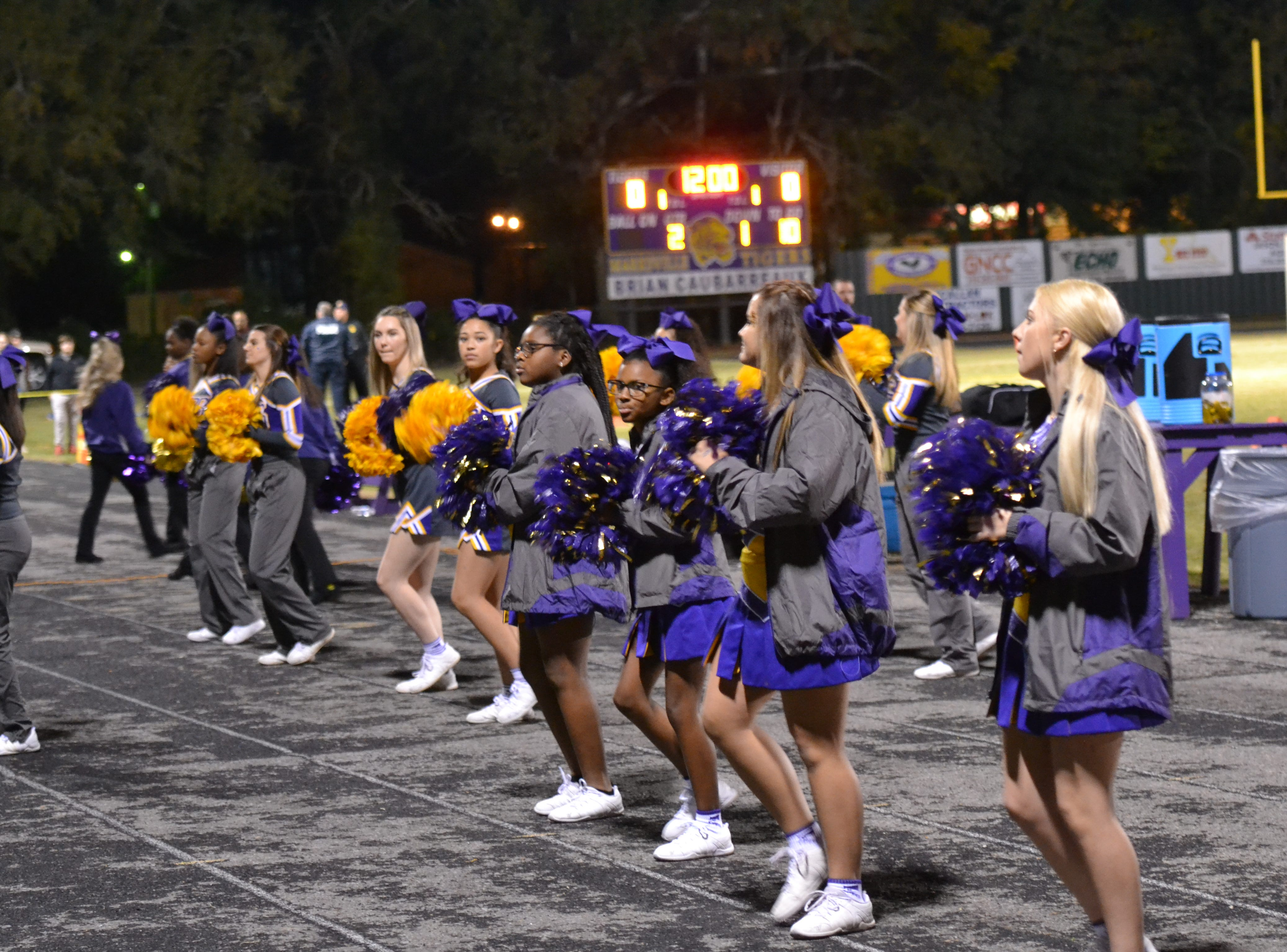 Marksville cheerleaders fire up the crowd. Marksville and Caldwell met in the regular season finale Friday night with Caldwell edging Marksville 13-8.