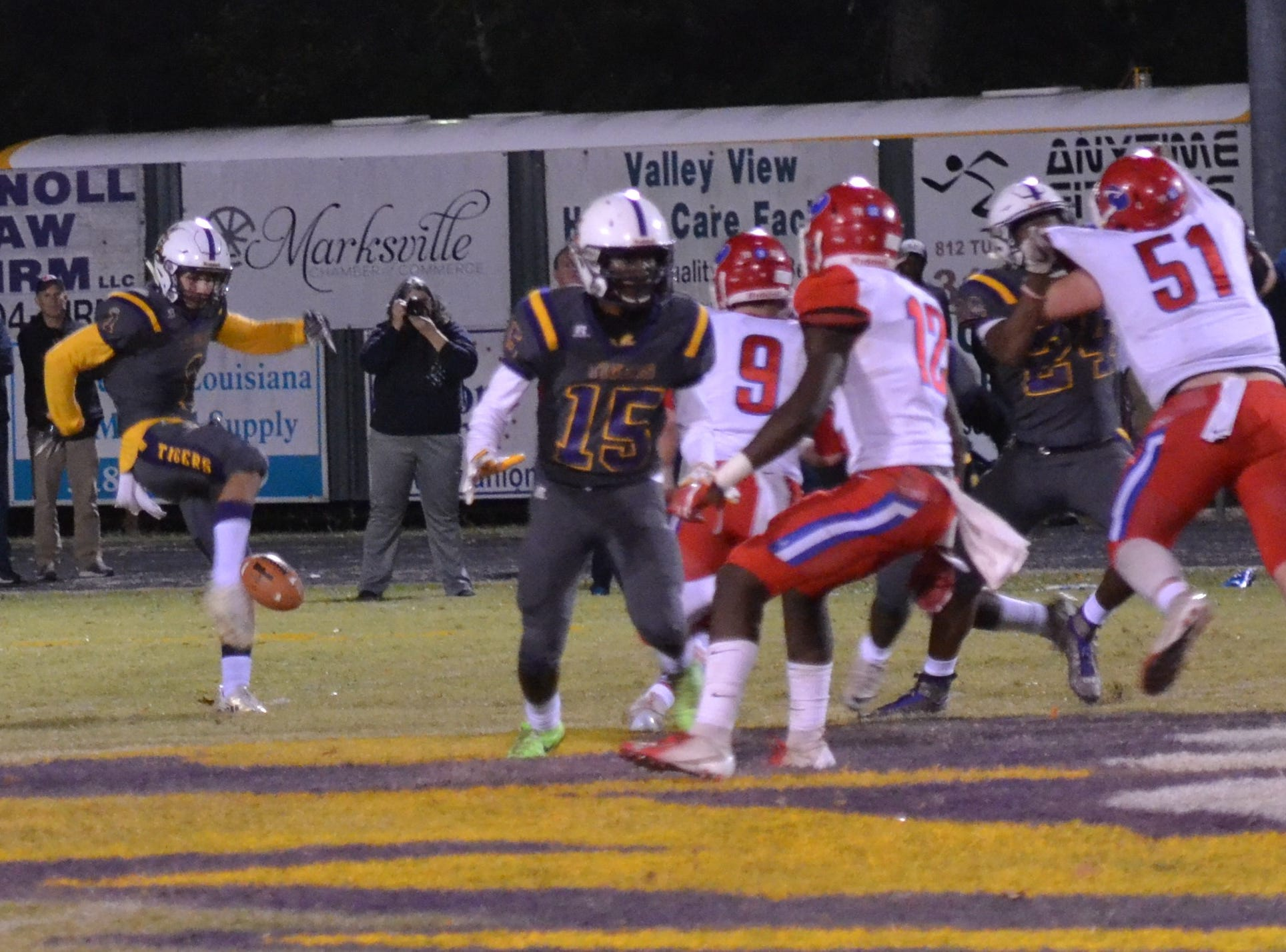 Braydon Flores (1) punts for the Tigers. Marksville and Caldwell met in the regular season finale Friday night with Caldwell edging Marksville 13-8.