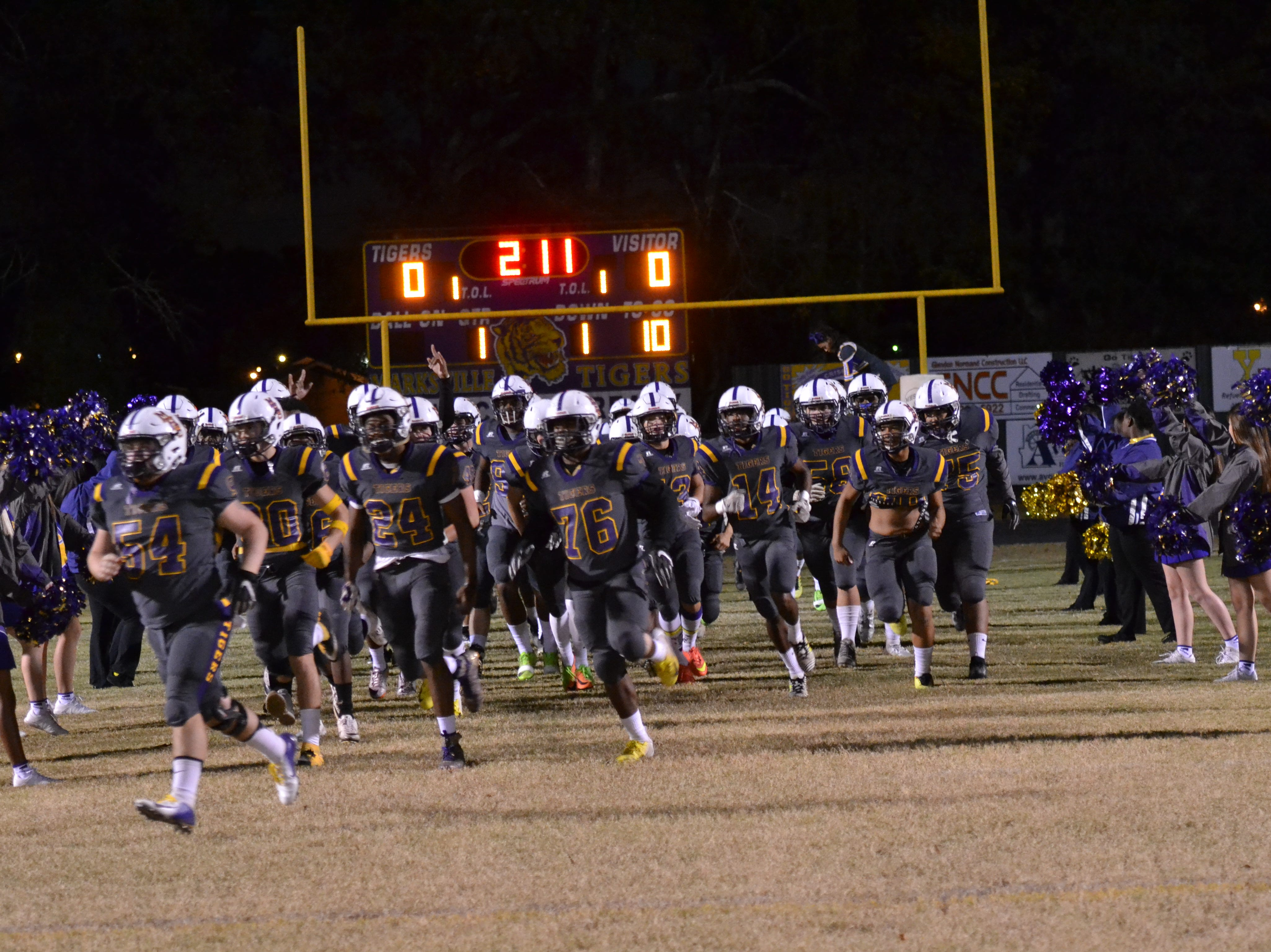The Marksville Tigers take the field. Marksville and Caldwell met in the regular season finale Friday night with Caldwell edging Marksville 13-8.