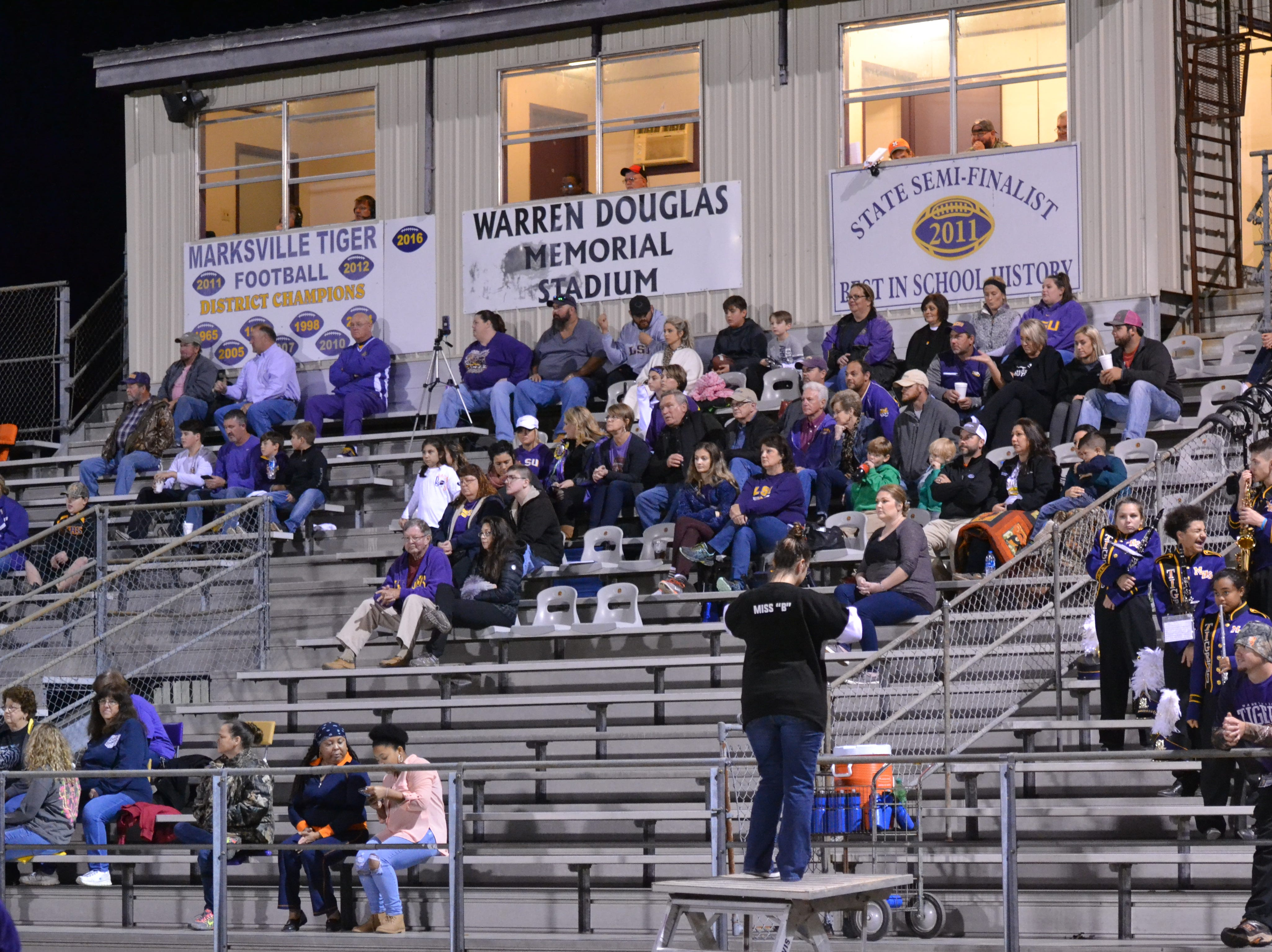 Marksville fans settle in an a cool night in Marksville. Marksville and Caldwell met in the regular season finale Friday night with Caldwell edging Marksville 13-8.
