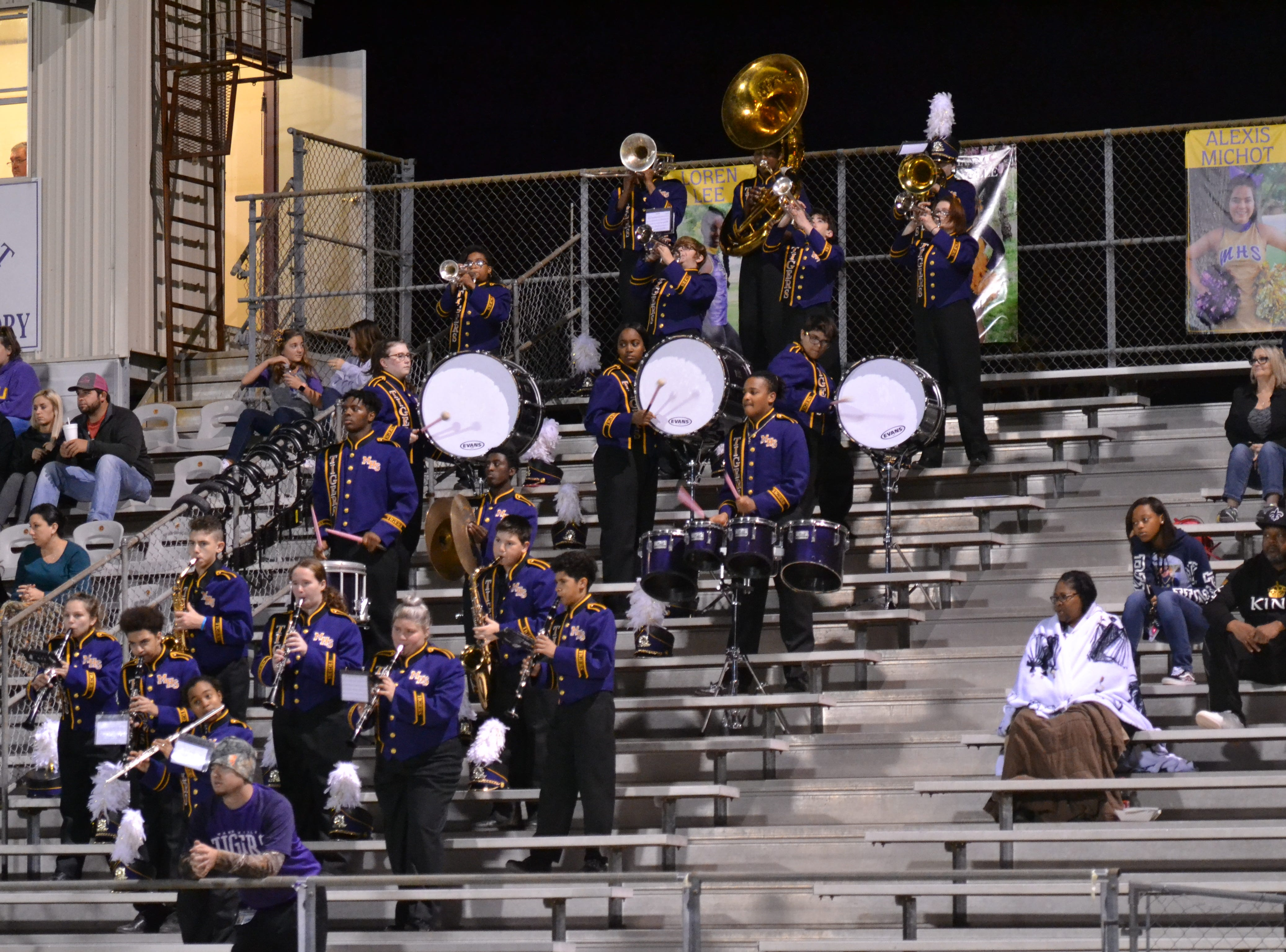"The Marksville Band plays a part of ""Eye of the Tiger."" Marksville and Caldwell met in the regular season finale Friday night with Caldwell edging Marksville 13-8."