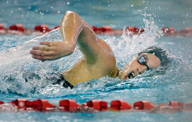 Claire Eisele of Neenah swims the 200 Yard Freestyle as the WIAA Division 1 swimming sectional meet takes place Saturday, Nov. 3, 2018, at Neenah High School in Neenah, Wis. Winners advanced to state.