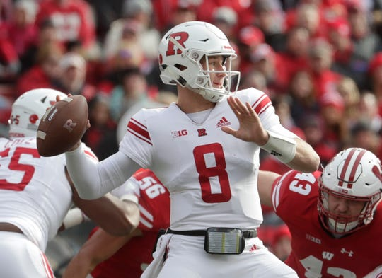 Rutgers's Artur Sitkowski throws during the first half against Wisconsin last week.
