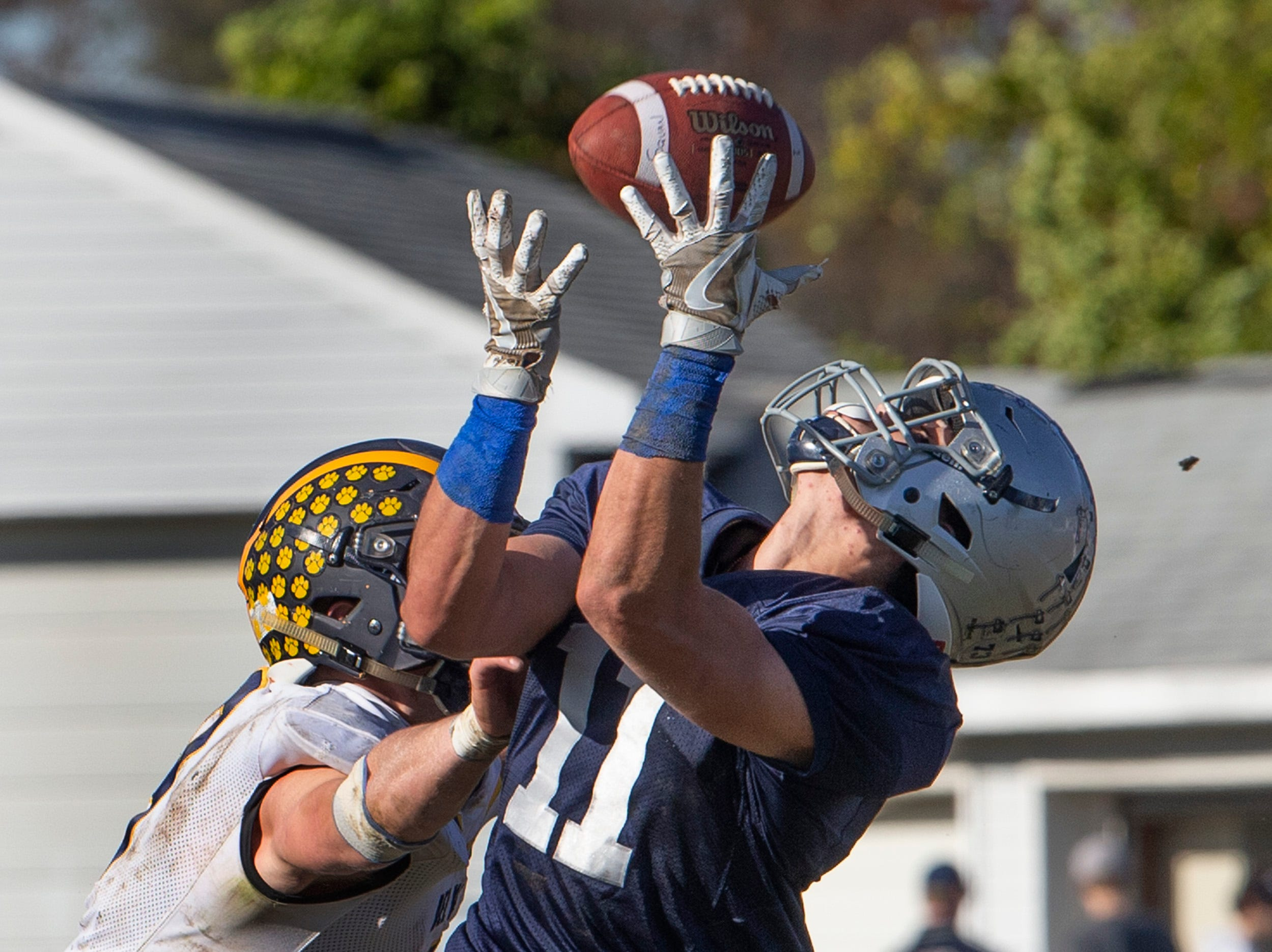 Manasquan's James Pendergist pulls in a long pass to set up Manasquan's last first half touchdown.  Manasquan Football buries Delaware Valley in NJSIAA opening round game in Manasquan NJ. On November 3, 2018.