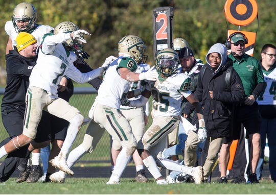 Brick Memorial vs Freehold Borough Central Group IV Public Schools Sectional Quarterfinals. Brick Memorial's #25 C.J Lavarin makes an interception late in the game to seal up the victory for Brick. Freehold, NJ Saturday, November, 03, 2018