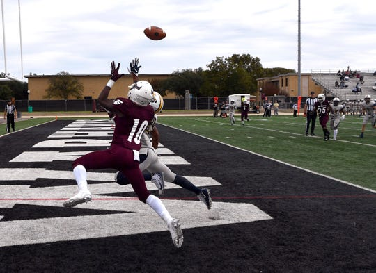 War Hawks wide receiver Trevion Harris jumps for a pass hoping for a completion in the end zone and a touch down Saturday Nov. 3, 2018 against East Texas Baptist University. The pass was incomplete.