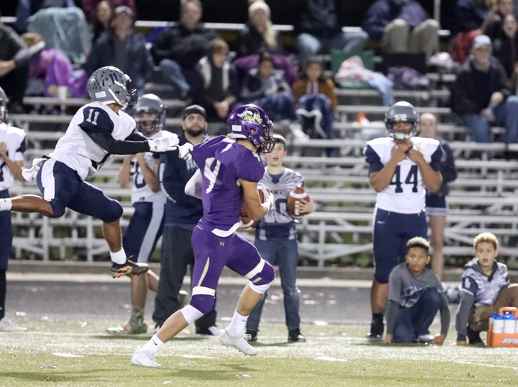 The North Kitsap Vikings defeated River Ridge in a West Central District playoff game at North Kitsap on Friday, November 2, 2018. North's Blake Wetzsteon intercepts a pass.