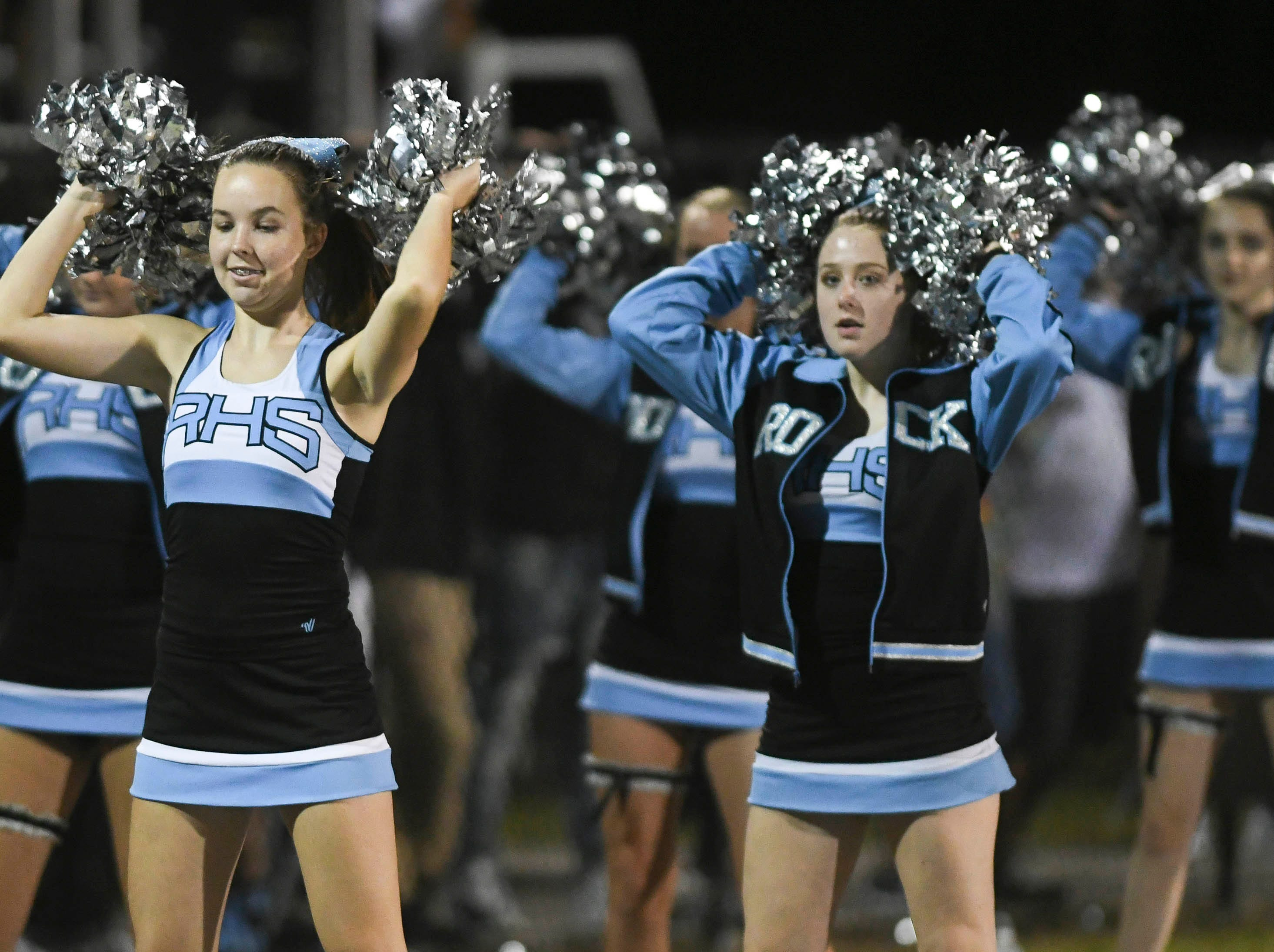 Rockledge cheerleaders dance to the music during Friday's game against Cocoa..