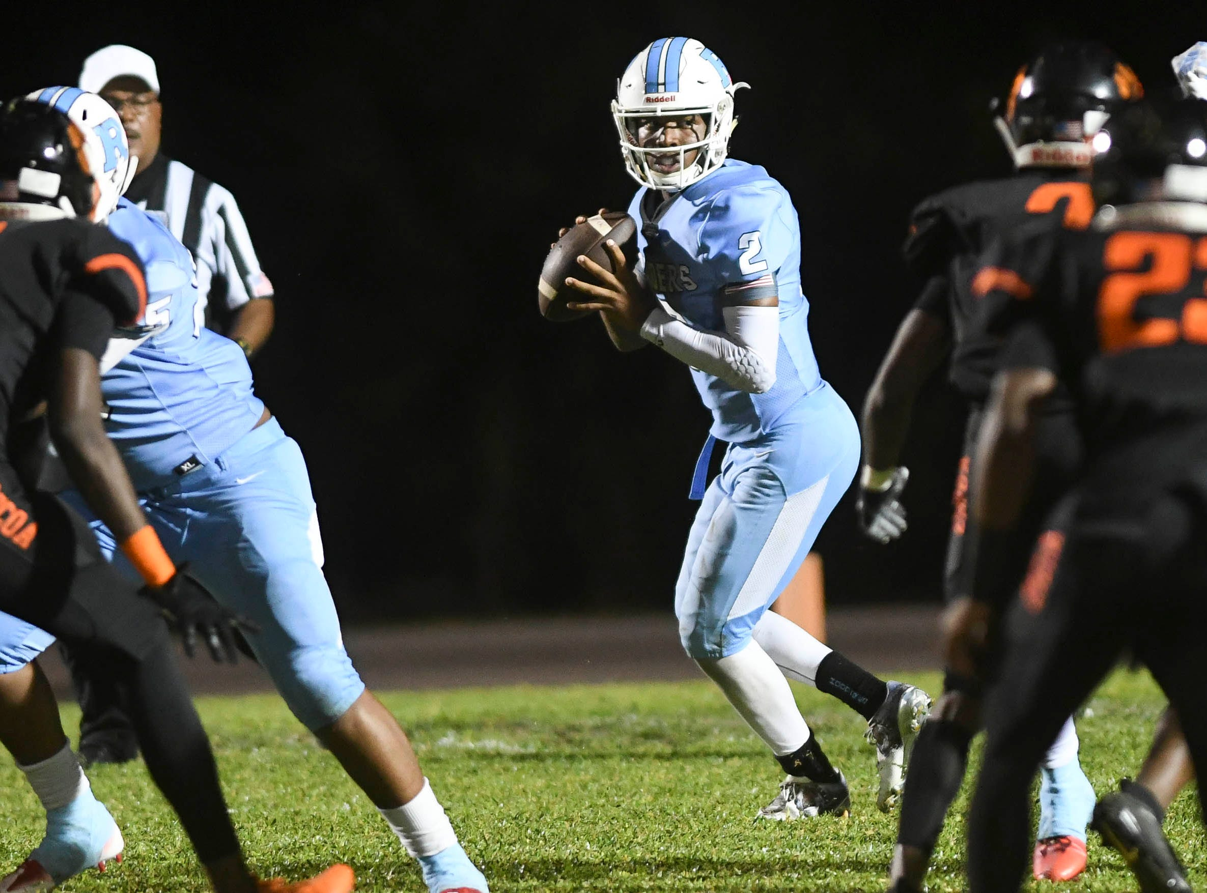 Rockledge QB Elias Allen drops back to pass during Friday's game.