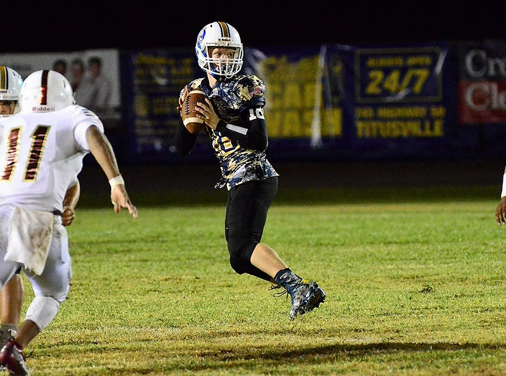 Terrier quarterback Austin Gardner scans downfield Friday night as the Terriers hosted Astronaut.