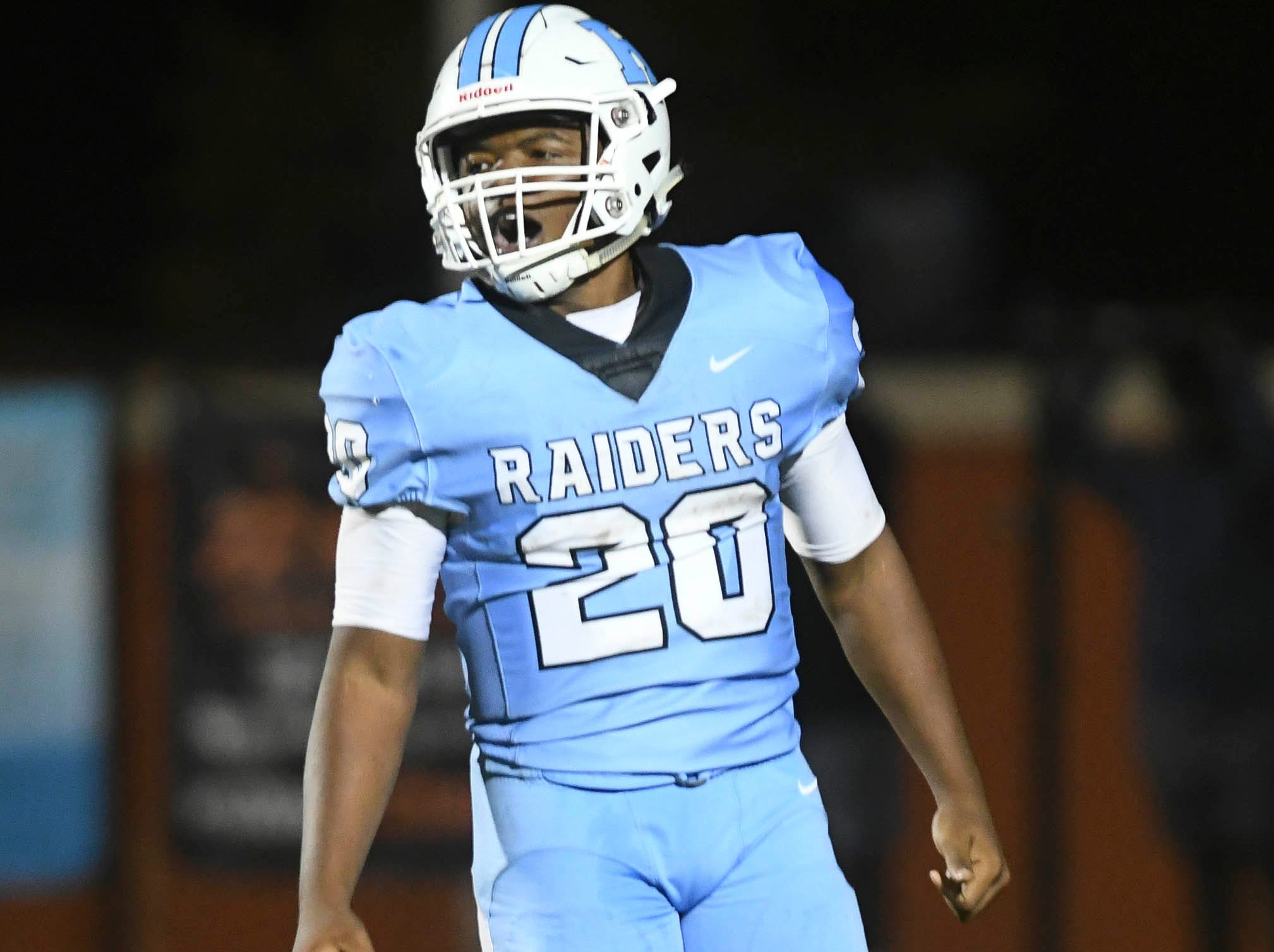 Avery Smith of Rockledge celebrates his touchdown run during Friday's game against Cocoa.