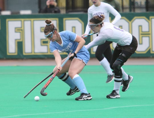 South Burlington's Kate Hall takes control of the ball from Elle Troville during the 2018 D1 State Championship. Hall and the Wolves fell to the Terriers 2-0.