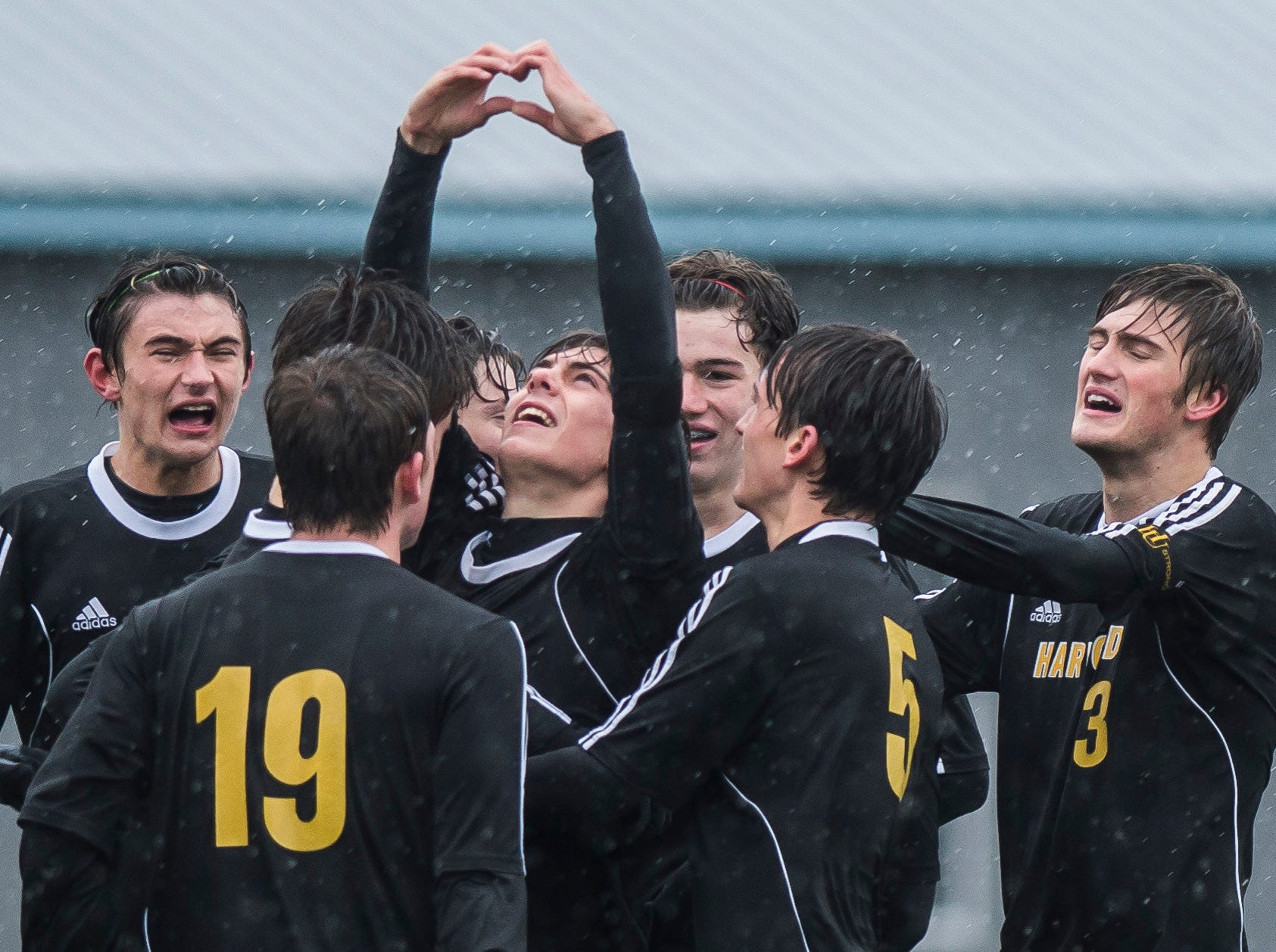 Harwood #10 Charlie Zschau gestures to he sky after scoring during their Div. 2 Vermont State high school boy's soccer championship game against Woodstock at South Burlington High School on Saturday, Nov. 3, 2018. Hardwood Union won, 3-0.