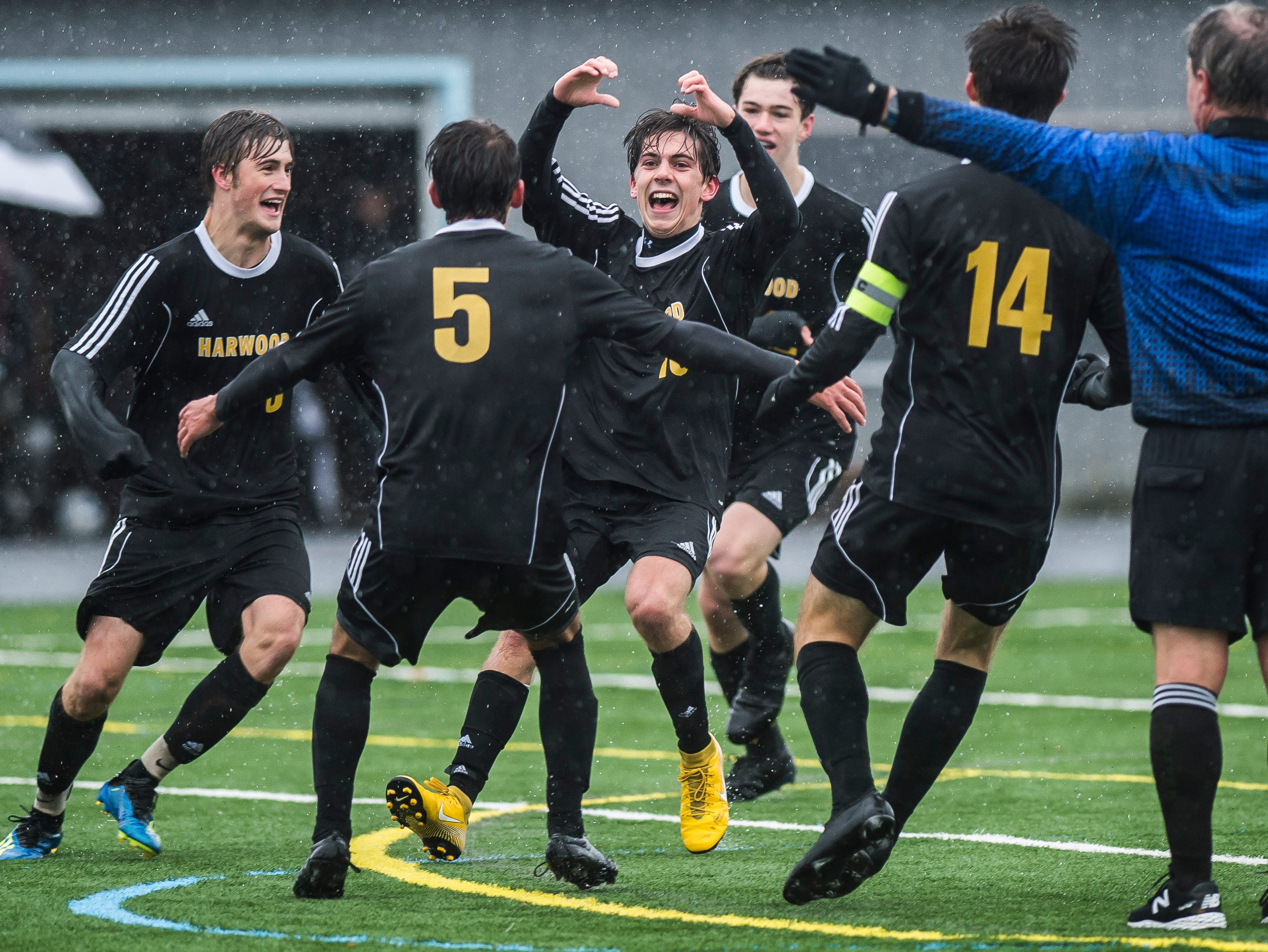 Harwood #10 Charlie Zschau celebrates after scoring during their Div. 2 Vermont State high school boy's soccer championship game against Woodstock at South Burlington High School on Saturday, Nov. 3, 2018. Hardwood Union won, 3-0.