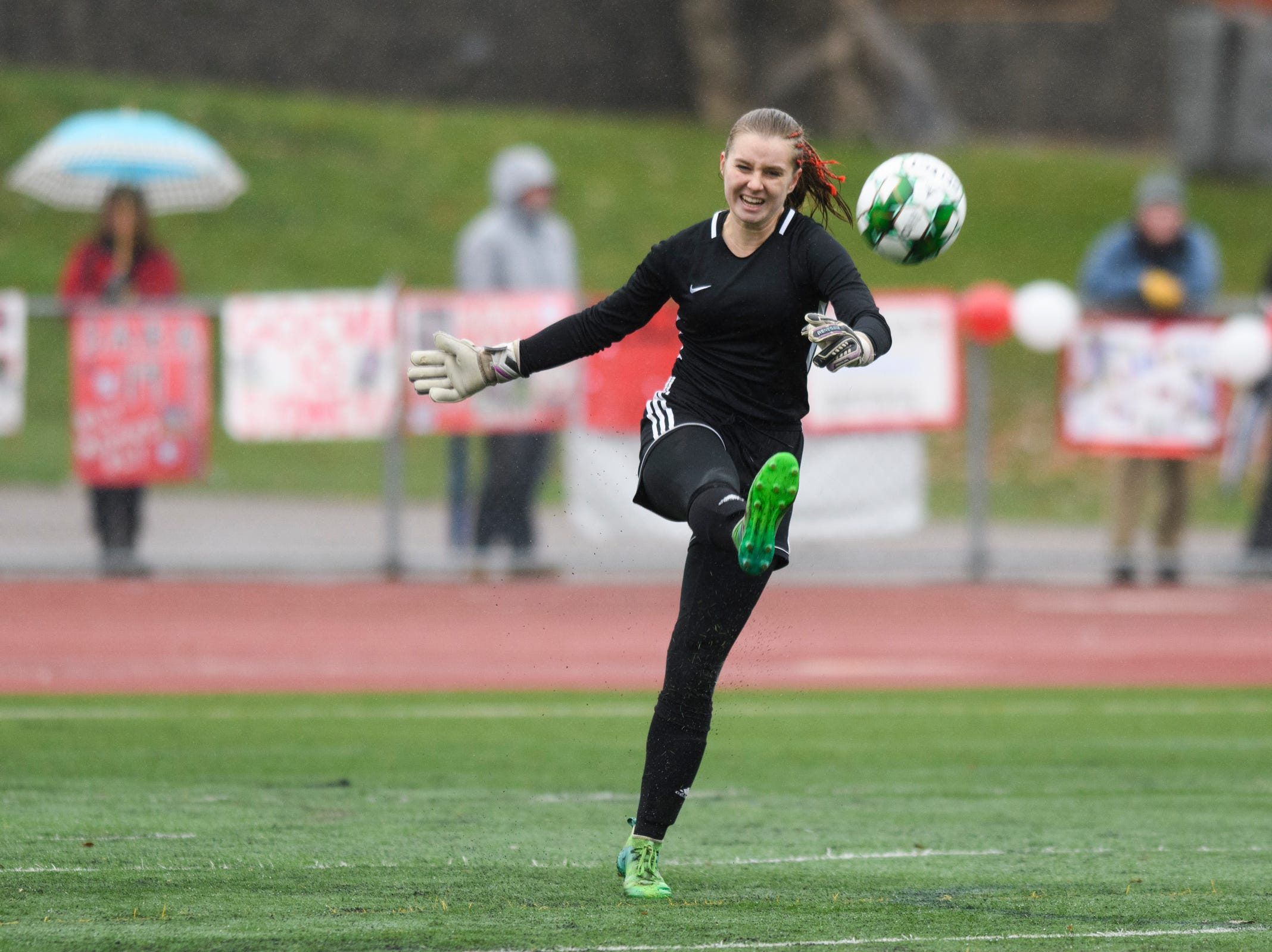 CVU goalie Maryn Askew kicks the ball down the field during the division I girls soccer championship game between the Colchester Lakers and the Champlain Valley Union Redhawks at Buck Hard Field on Saturday morning November 3, 2018 in Burlington.
