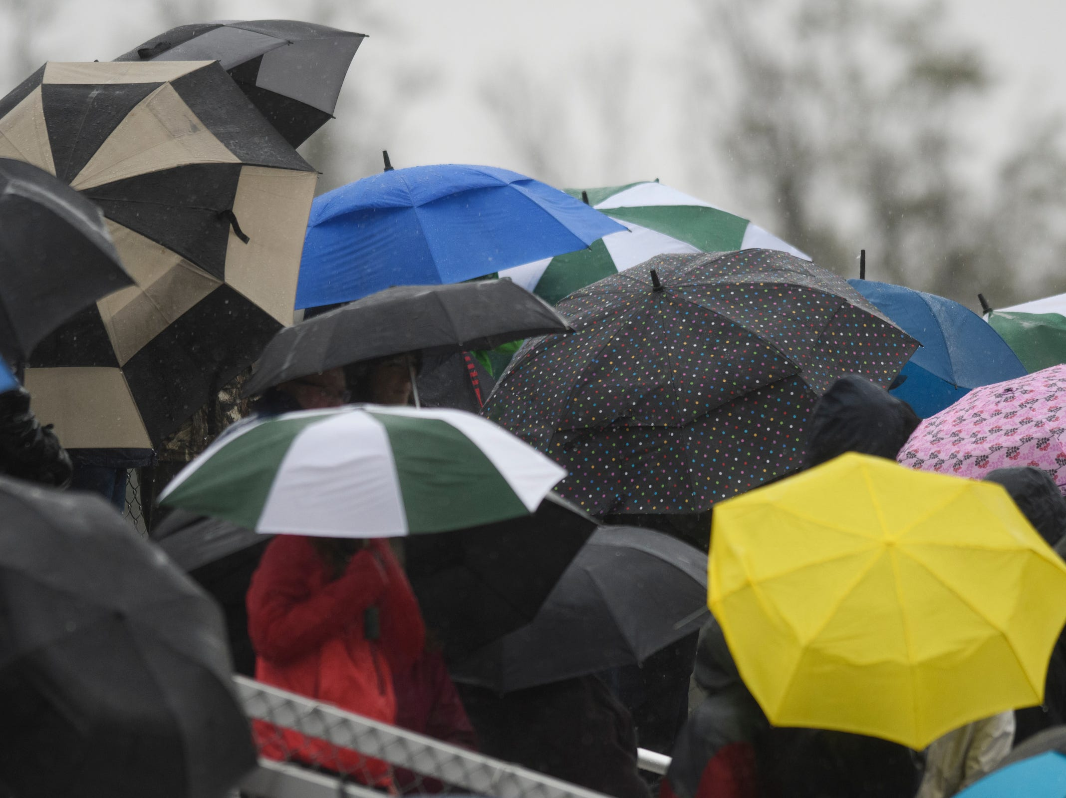 Family and fans watch the game from underneath umbrellas during the Division I boys soccer championship game between the St. Johnsbury Hilltoppers and the Champlain Valley Union Redhawks at Buck Hard Field on Saturday morning November 3, 2018 in Burlington.