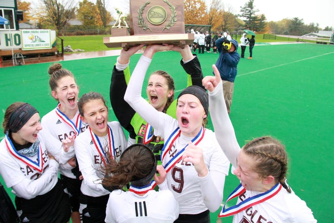 To the Victors go the spoils...the Mt. Abraham Eagles hoist the D-II state championship trophy after defeating Burr and Burton 3-2 in double overtime.
